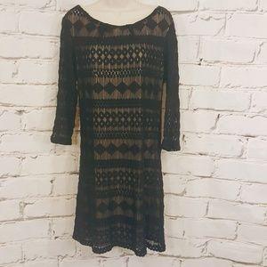 🍁As U Wish Black Lace LS Shift Dress Size Large